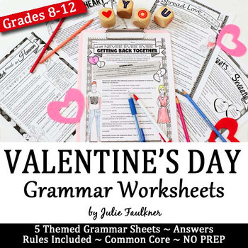 Valentines Day Grammar Worksheets NO PREP Middle and High School
