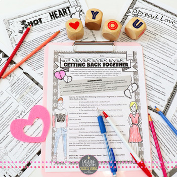 Valentine's Day Grammar Worksheets, NO PREP, Middle and High School