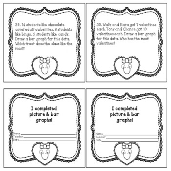 Valentine's Day Graphing Math Pictures and Bar Graphs Black White Print No Prep