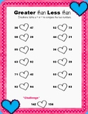 Valentine's Day Greater than Less than worksheet