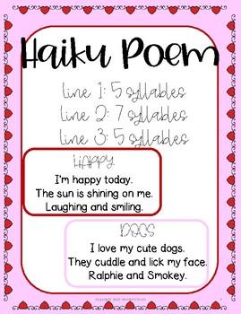 Valentine's Day Haiku Poem Activity