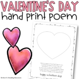 Valentine's Day Hand Print Poem Art Project