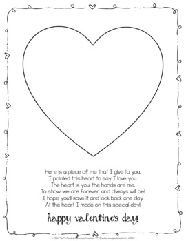 Valentine's Day Hand Print Poem Art Project