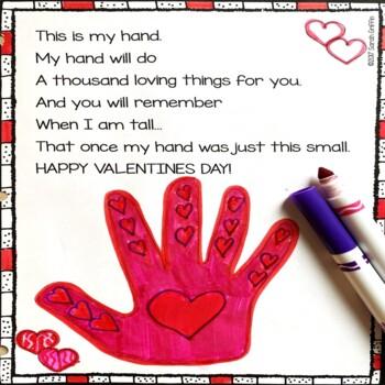 graphic regarding Handprint Poem Printable named Valentines Working day Handprint - Keepsake Poem for Children