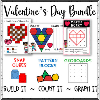 Valentine's Day Hands-On Activities Bundle-Geoboards, Snap Cubes, Pattern Blocks