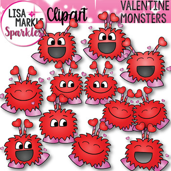 Valentine's Day Happy Monsters Clip Art