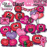 Valentine's Day Happy Monsters Clipart