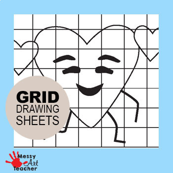 Valentine's Day Heart Character Grid Drawing Worksheet for Elementary Grades