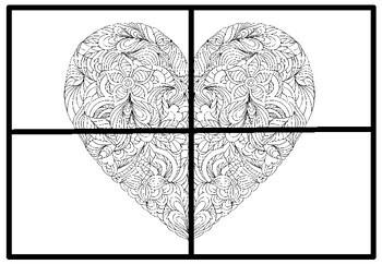 Valentine's Day Heart Collaborative Art Puzzle & Letters Set, Party Games Bundle
