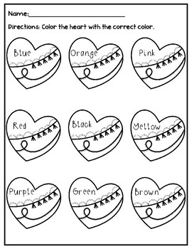 Valentine's Day Heart Color Words