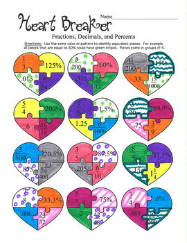 Valentine's Day Heart Fraction Decimal Percent Coloring Activity