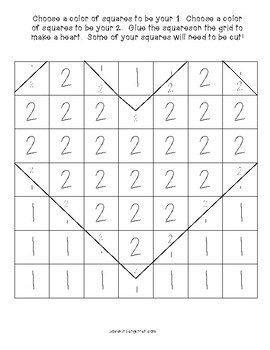 Valentine's Day Heart Grid Math and Art Activity