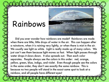 Rainbow Reading, Poetry Writing, and Science Experiment
