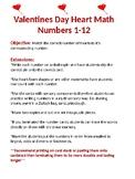 Valentine's Day Math Center Heart number Match flashcards 1-12