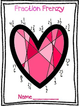 Valentine's Day Heart Mixed Fraction and Improper Fraction Activity