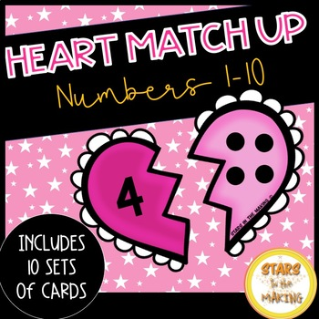 Valentine's Day Heart Number Matching (Numbers 1-10)