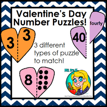 Valentine's Day Heart Number Puzzles