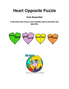 Valentine's Day Heart Opposite Puzzles