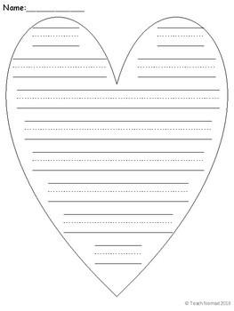 Valentine's Day Heart Writing Paper (Portrait)