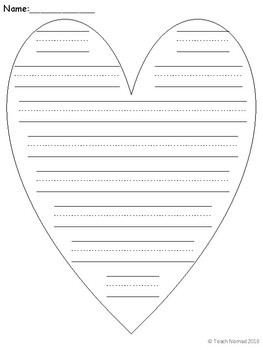 Valentine's Day Heart Writing Paper (Portrait)
