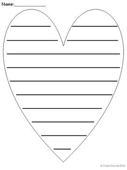 Valentines Day Heart Writing Paper Portrait