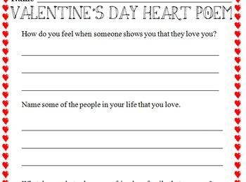 Computer Class - Valentine's Day Heart Poem