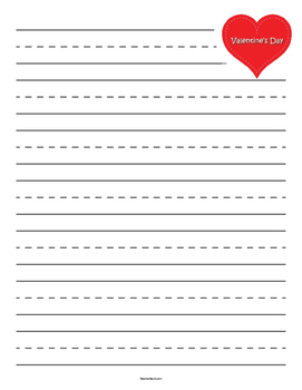 Valentine's Day Heart Primary Lined Paper