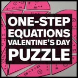 Valentine's Day Heart Puzzle - One Step Equations with Positive Solutions