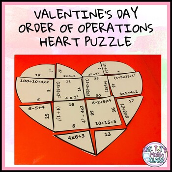 Valentine's Day Heart Puzzle - Order of Operations-