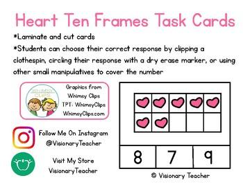 Valentine's Day Heart Ten Frames Task Cards