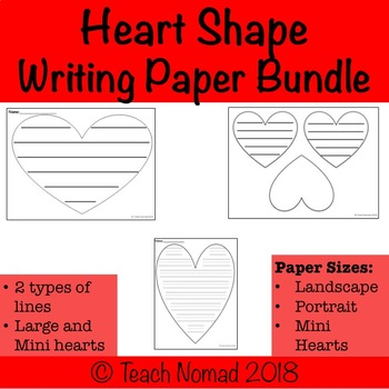 Valentines Day Heart Writing Paper Bundle