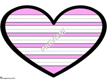 Mother's Day Valentine's Day Heart Writing Paper Templates 3 Formats