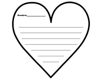 Valentine's Day Heart Writing Template San Valentin