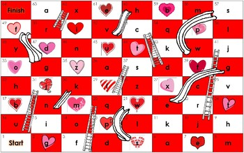 Valentine's Day Heart themed Chutes and Ladders Dolch Word Board Game