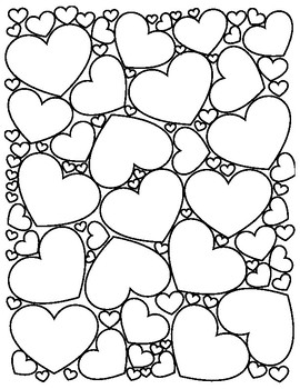 Valentine\'s Day Hearts Coloring Page