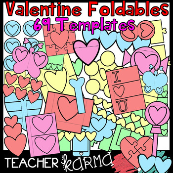 Valentine's Day & Hearts Foldables, Interactives, Flip Book Templates