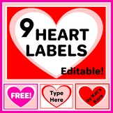 Valentine's Day Hearts Labels – 9 Labels with Editable Tex