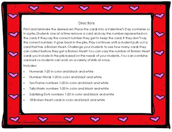 Valentine's Day Hearts Ornament Early Math Concepts (numbers 1 to 20) Bang Game