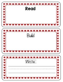 Valentine's Day/Hearts Read-Build-Write Board