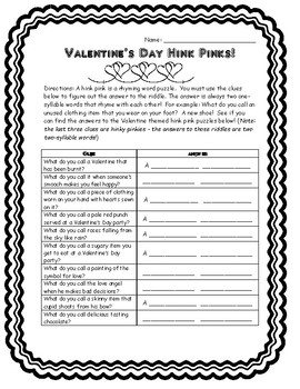 picture about Hink Pinks Printable named Hink Pinks Worksheets Education Materials Academics Pay out