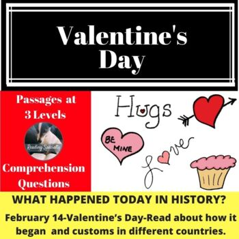 Valentine's Day History and Customs Differentiated Reading Passage Feb 14
