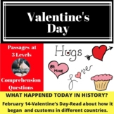 Valentine's Day History Differentiated Reading Comprehension Passage Feb 14