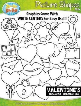 Valentine's Day Holiday Picture Shapes Clipart Set — Inclu