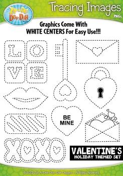 Valentine's Day Tracing Image Clipart {Zip-A-Dee-Doo-Dah Designs}