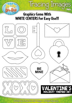 Valentine's Day Holiday Themed Tracing Image Clipart Set —