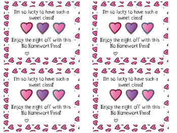 valentine no homework passes