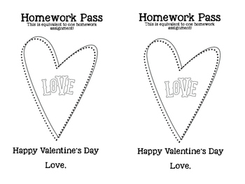 Valentine's Day Homework Pass