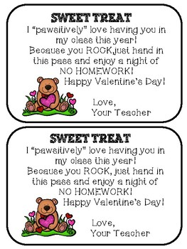 Valentine's Day Homework Passes
