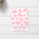 Valentine's Day Hugs and Kisses Printable Cookie Cards / V