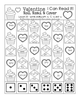 Valentine's Day I Can Read It! Roll, Read, and Cover (Lesson 23)